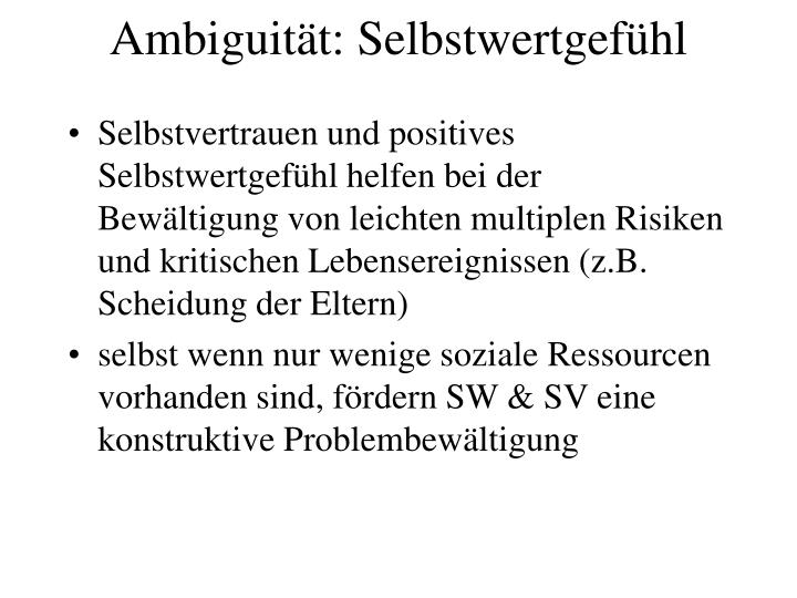 Ambiguität: Selbstwertgefühl