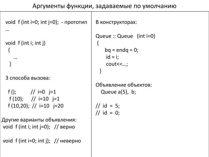Аргументы функции, задаваемые по умолчанию