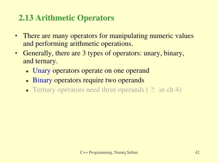 2.13 Arithmetic Operators