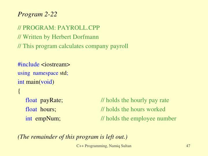 Program 2-22