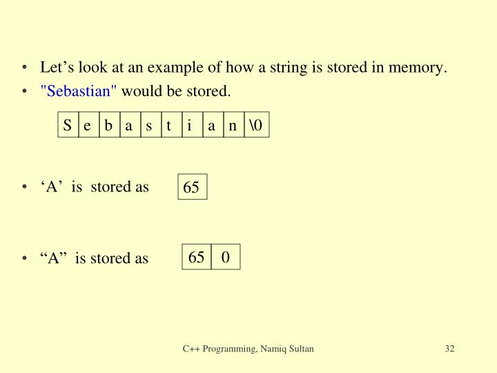 Let's look at an example of how a string is stored in memory.