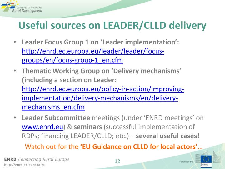 Useful sources on LEADER/CLLD delivery