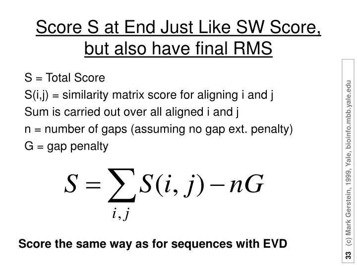 Score S at End Just Like SW Score, but also have final RMS