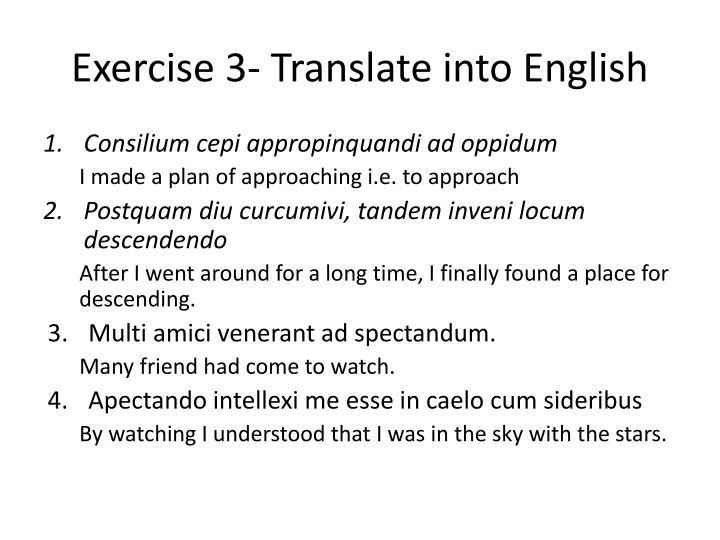 Exercise 3- Translate into English
