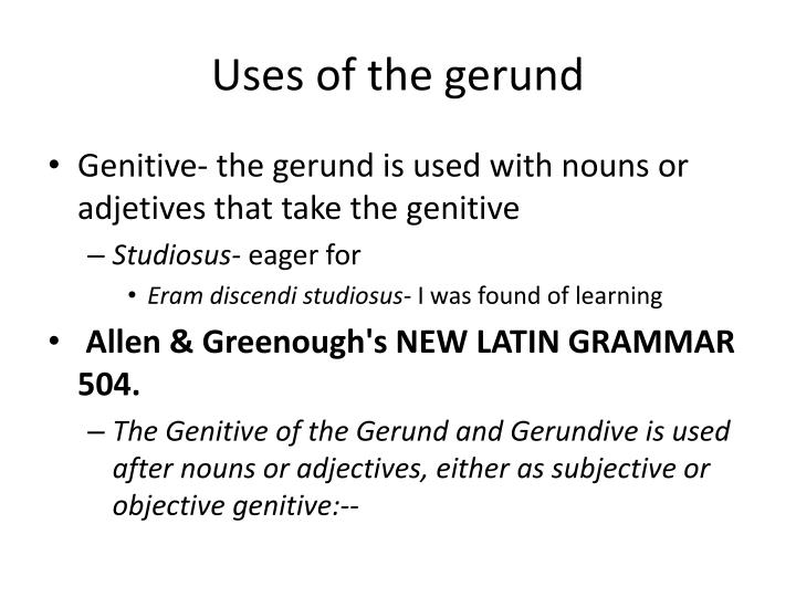 Uses of the gerund