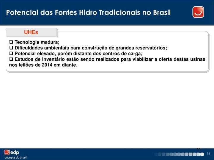 Potencial das Fontes Hidro Tradicionais no Brasil