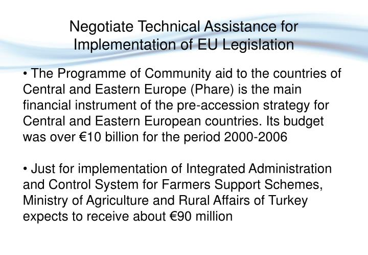 Negotiate Technical Assistance for