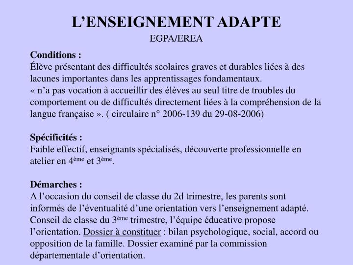 L'ENSEIGNEMENT ADAPTE
