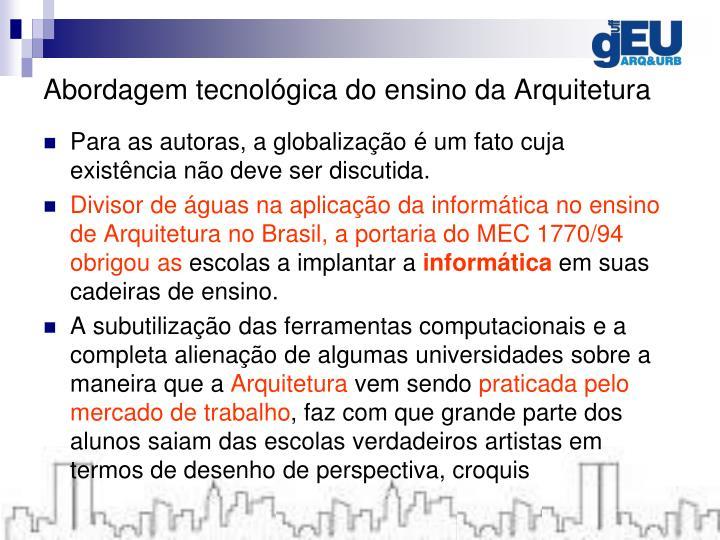 Abordagem tecnológica do ensino da Arquitetura
