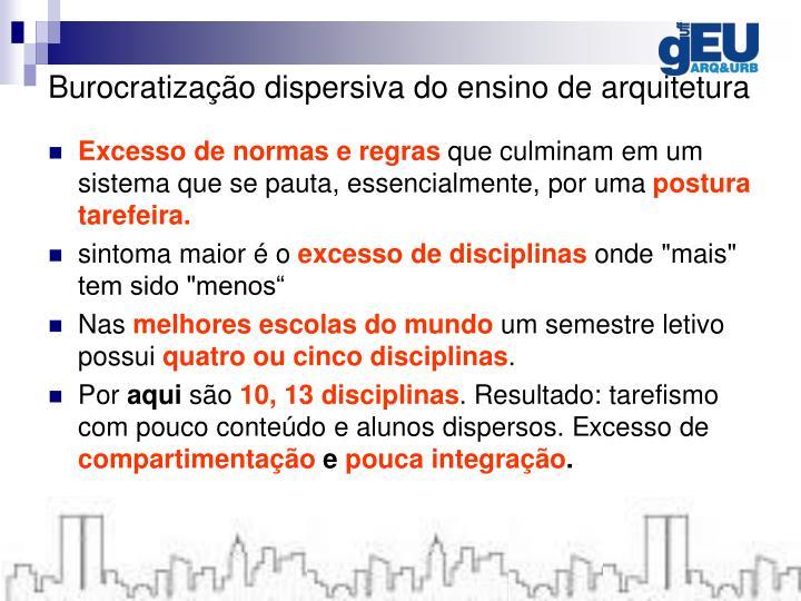 Burocratização dispersiva do ensino de arquitetura