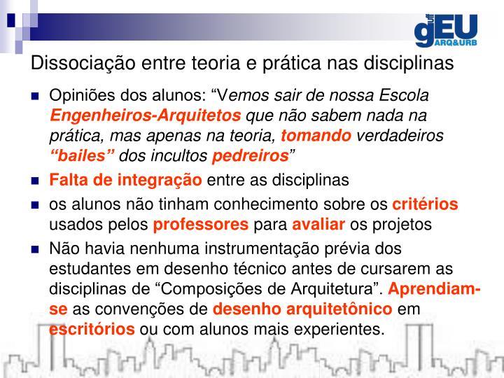 Dissociação entre teoria e prática nas disciplinas