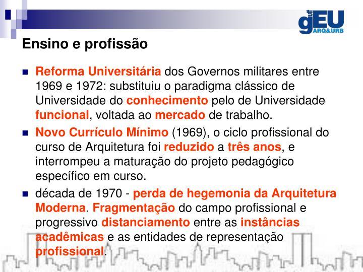 Ensino e profissão