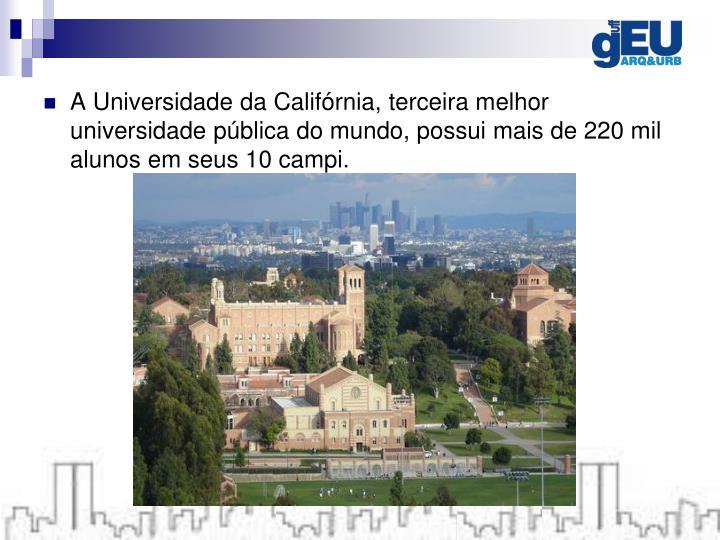 A Universidade da Califórnia, terceira melhor universidade pública do mundo, possui mais de 220 mil alunos em seus 10 campi.