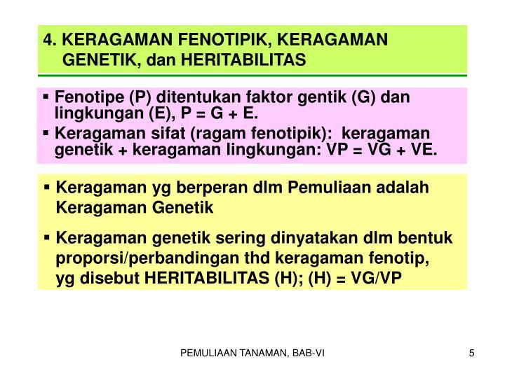 4. KERAGAMAN FENOTIPIK, KERAGAMAN GENETIK, dan HERITABILITAS