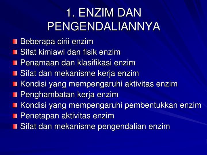 1. ENZIM DAN PENGENDALIANNYA