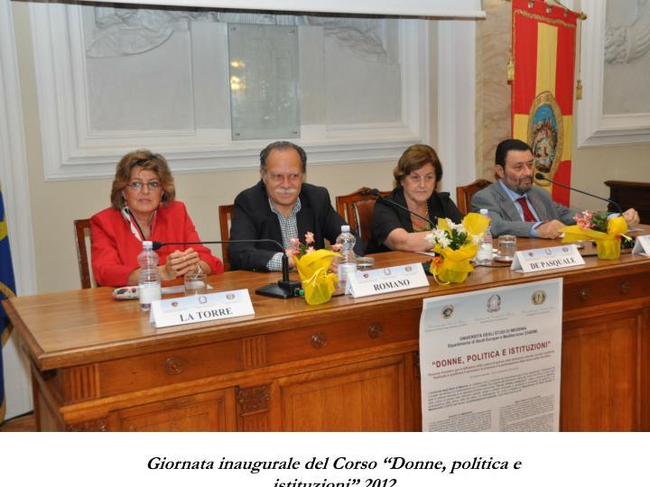 """Giornata inaugurale del Corso """"Donne, politica e istituzioni"""" 2012"""