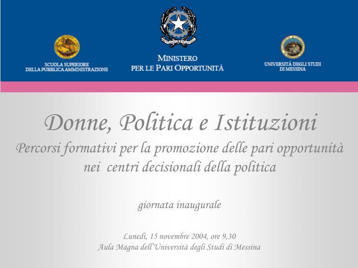 Donne, Politica e Istituzioni