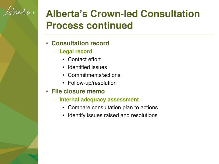 Alberta's Crown-led Consultation