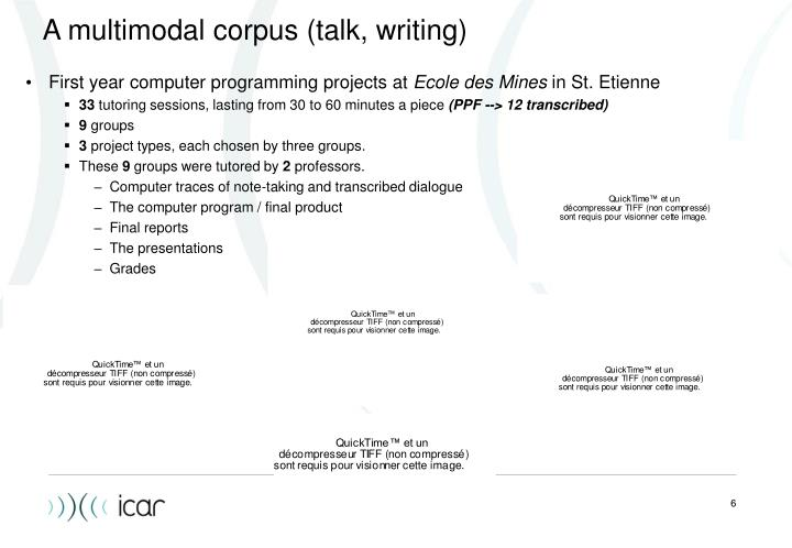 A multimodal corpus (talk, writing)