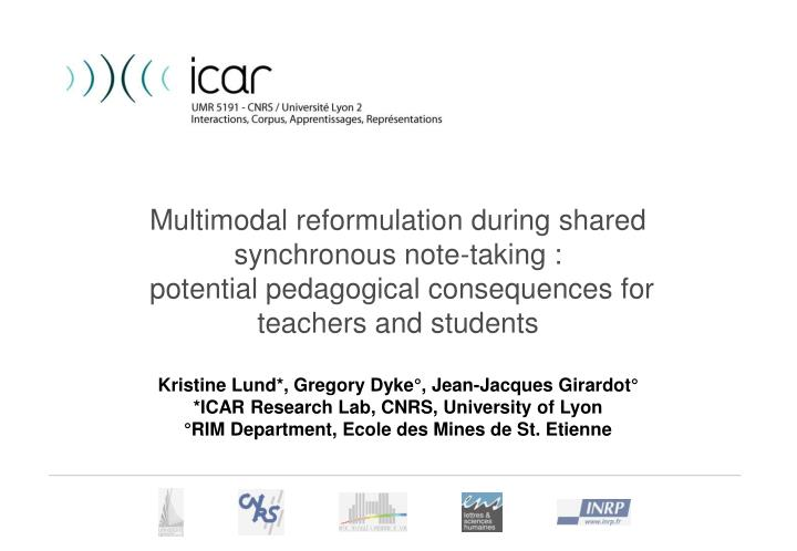 Multimodal reformulation during shared