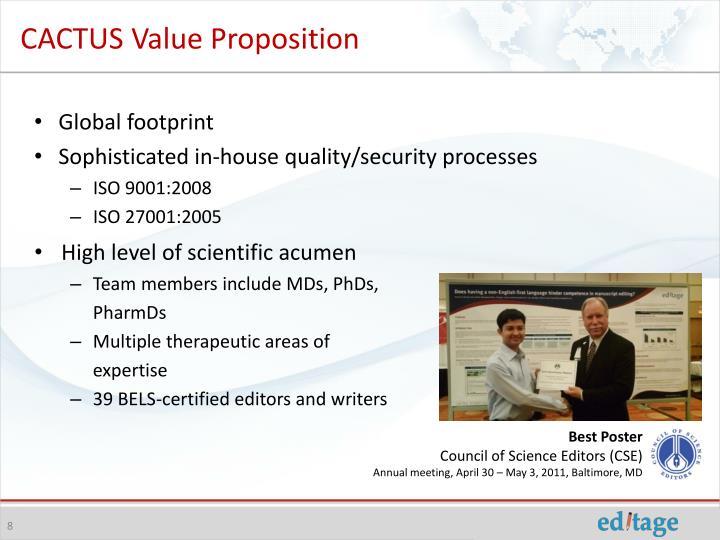 CACTUS Value Proposition