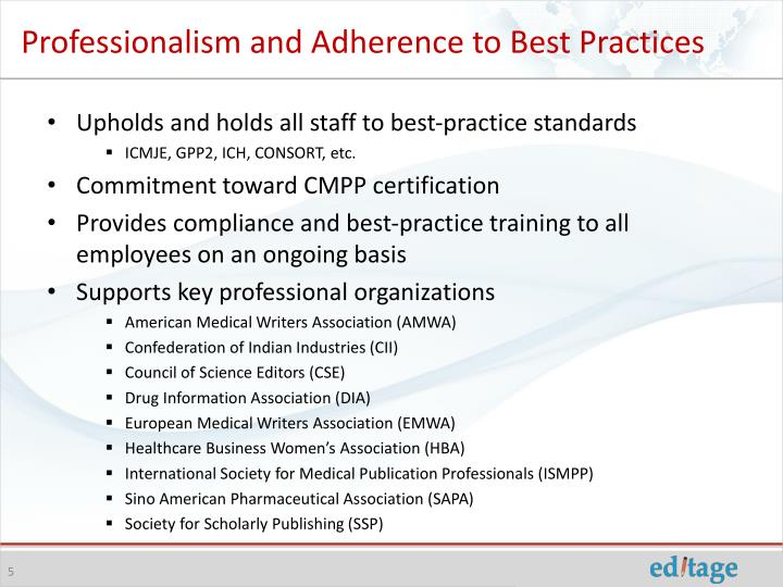 Professionalism and Adherence to Best Practices