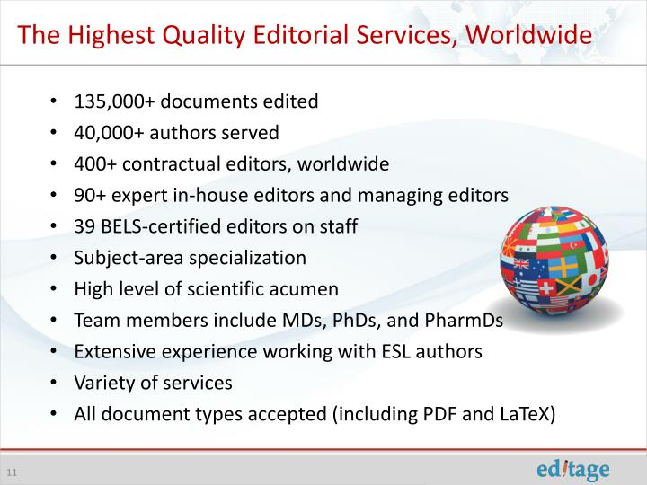 The Highest Quality Editorial Services, Worldwide