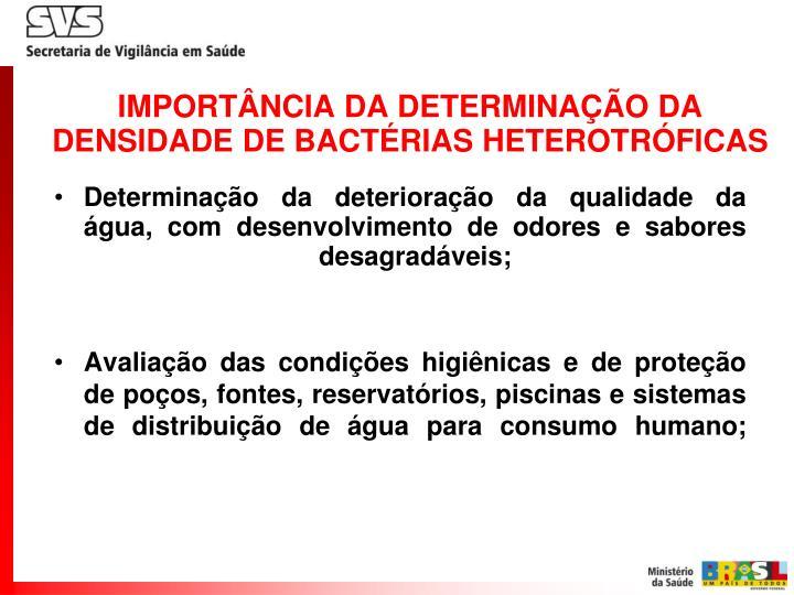IMPORTÂNCIA DA DETERMINAÇÃO DA DENSIDADE DE BACTÉRIAS HETEROTRÓFICAS