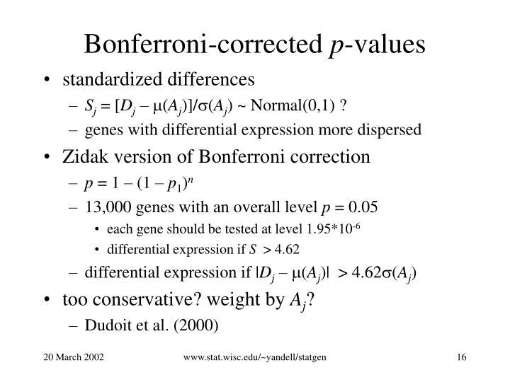 Bonferroni-corrected