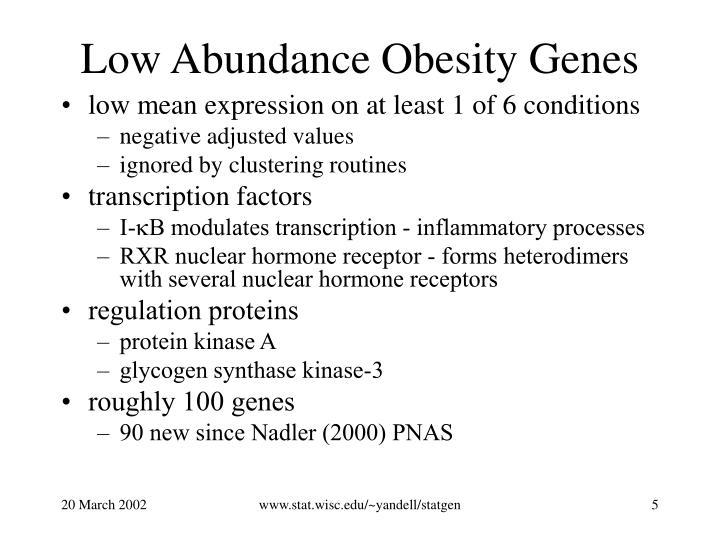 Low Abundance Obesity Genes