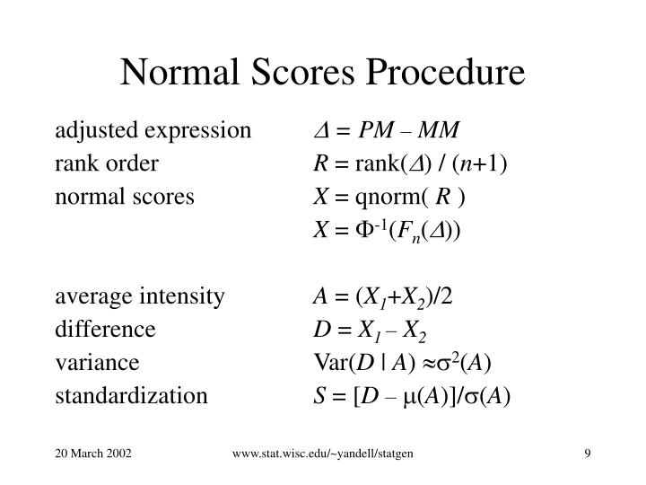 Normal Scores Procedure