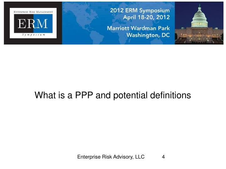 What is a PPP and potential definitions