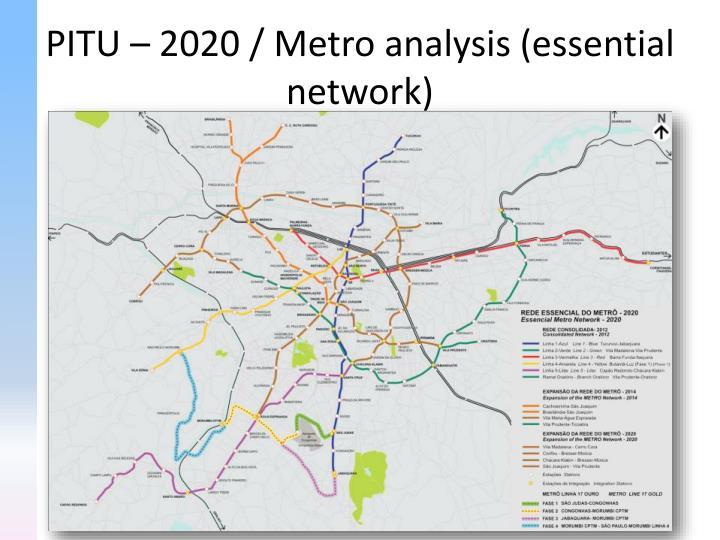 PITU – 2020 / Metro analysis (essential network)
