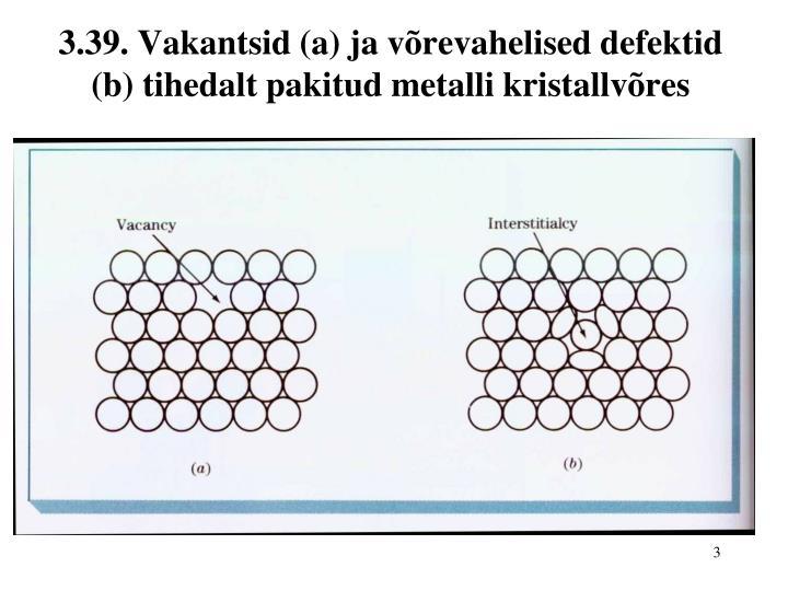 3.39. Vakantsid (a) ja võrevahelised defektid (b) tihedalt pakitud metalli kristallvõres