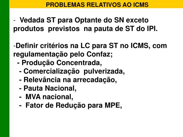 PROBLEMAS RELATIVOS AO ICMS