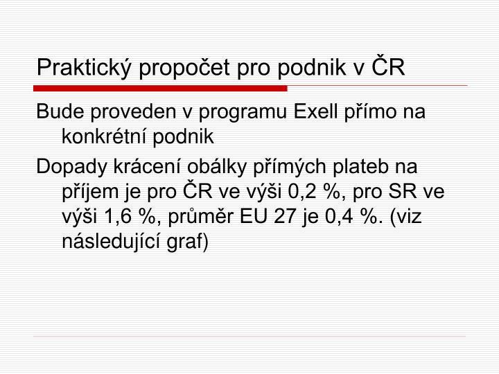Praktický propočet pro podnik v ČR