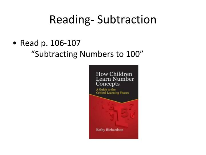Reading- Subtraction