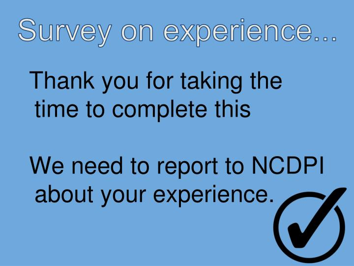 Survey on experience...