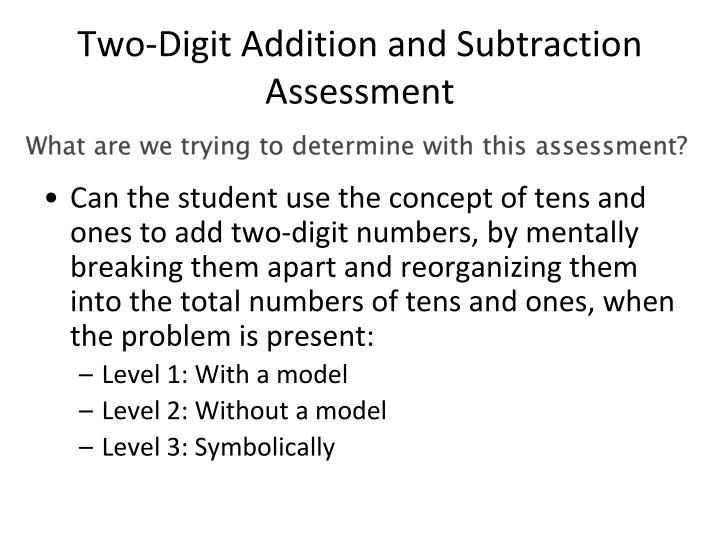 Two-Digit Addition and Subtraction Assessment