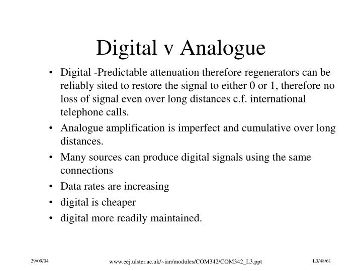 Digital v Analogue