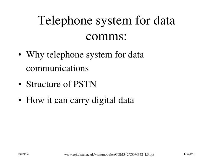 Telephone system for data comms:
