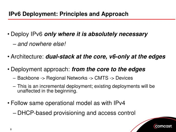 IPv6 Deployment: Principles and Approach