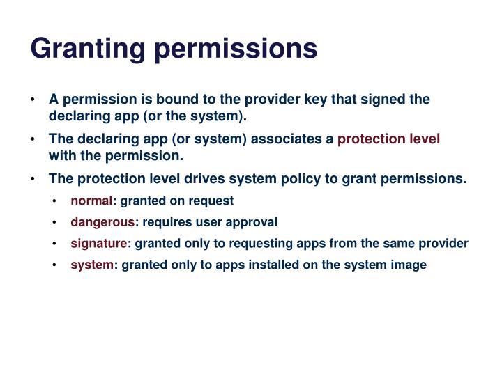 Granting permissions
