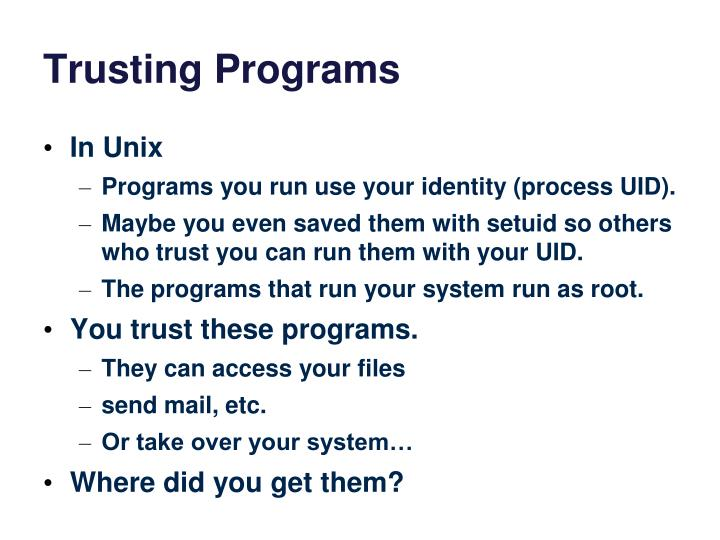 Trusting Programs