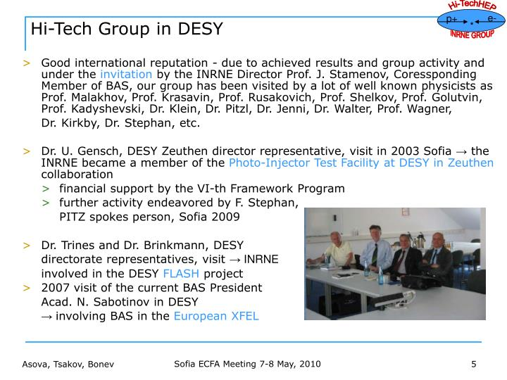 Hi-Tech Group in DESY