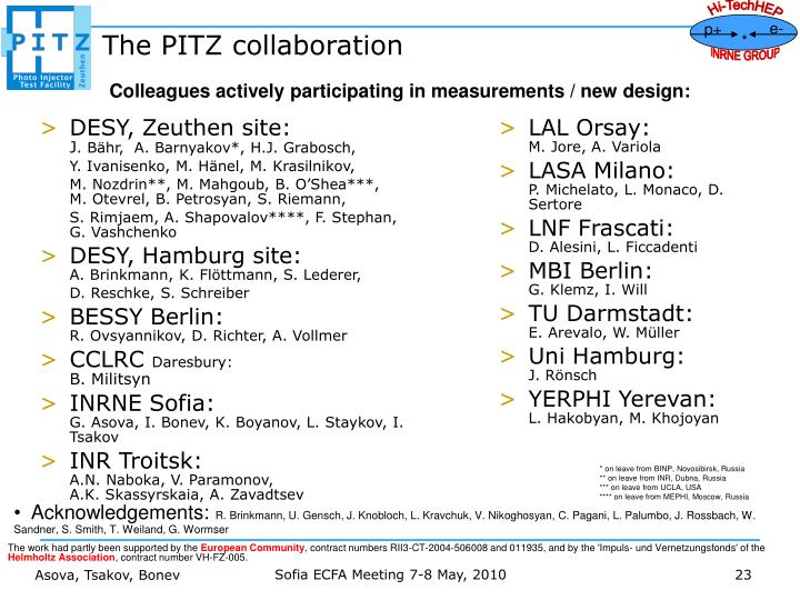 The PITZ collaboration