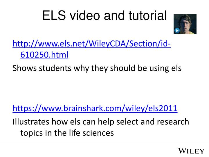 ELS video and tutorial