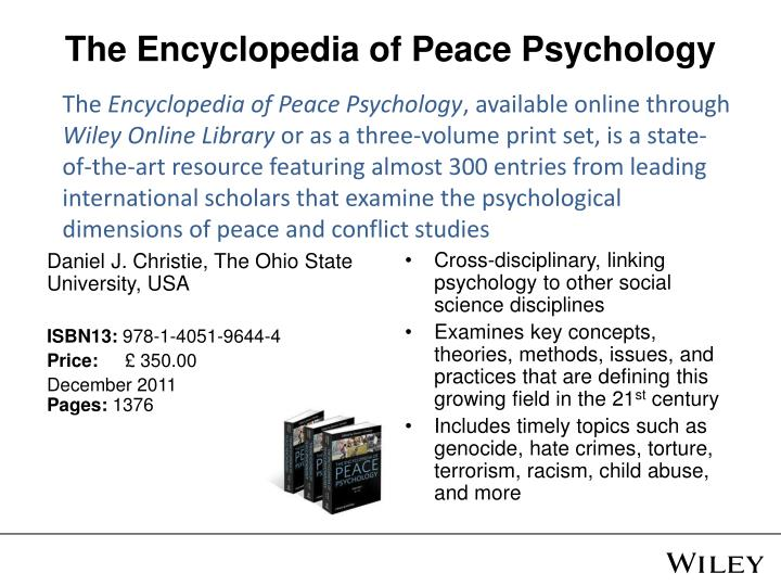 The Encyclopedia of Peace Psychology