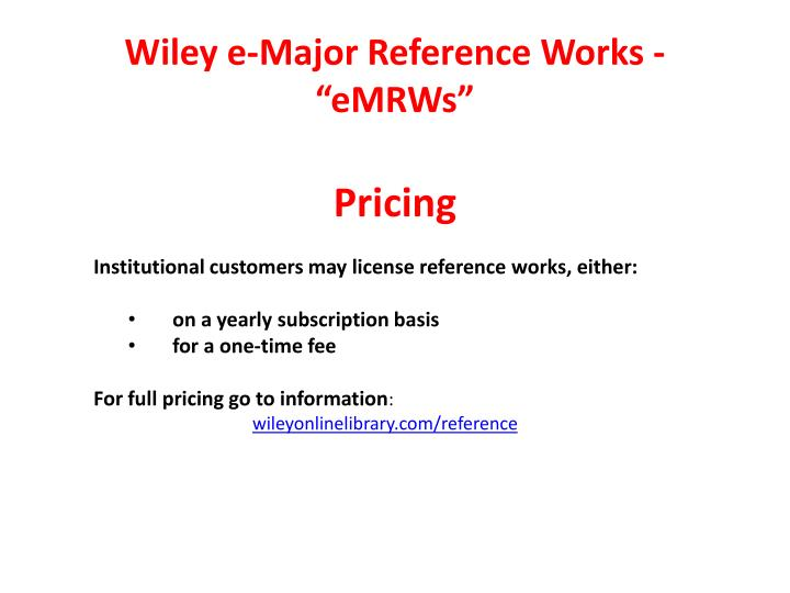 Wiley e-Major Reference Works -