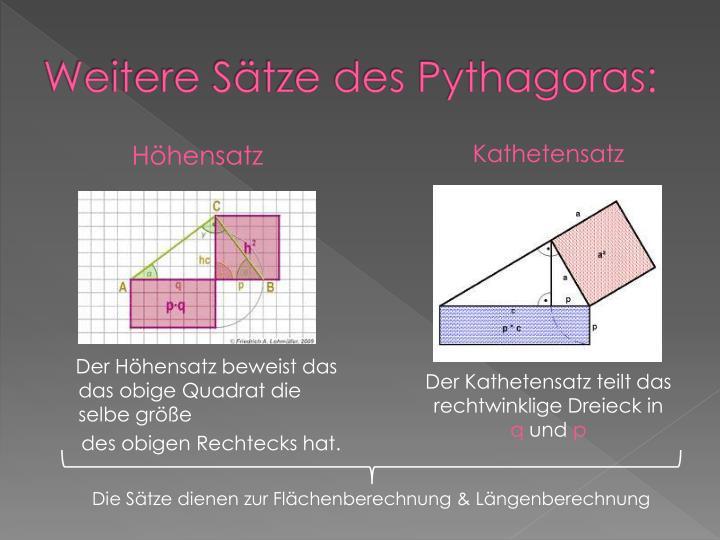 Weitere Sätze des Pythagoras: